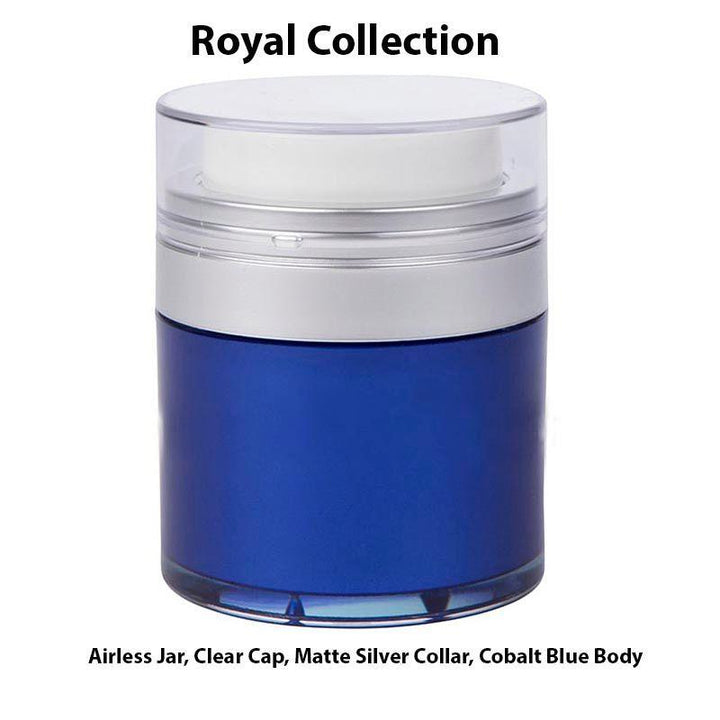 Royal Blue Airless Jar - Clear Cap - Matte Silver Collar (From Royal Collection)
