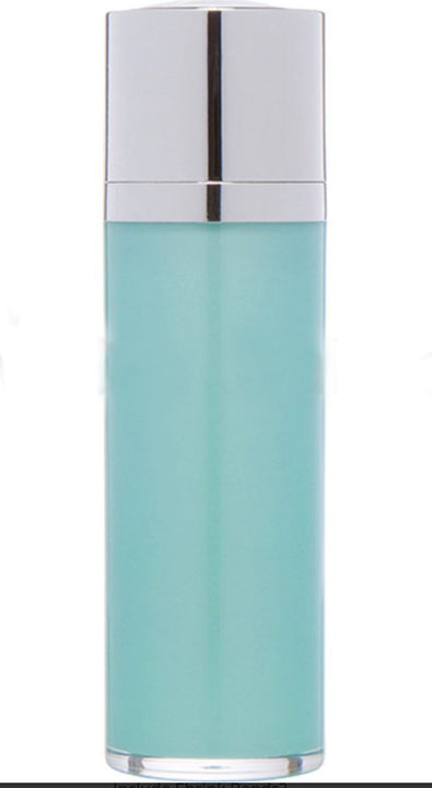 Teal Blue Airless Bottle - Shiny Silver Twist Up Dispenser (From Tiffany Collection)