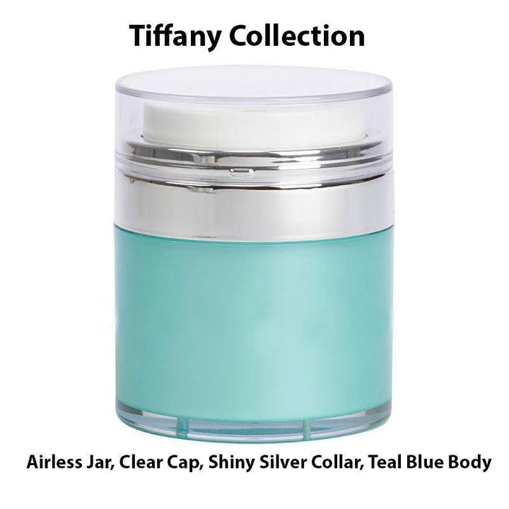 Teal Blue Airless Jar - Clear Cap Shiny Silver Collar (From Tiffany Collection)