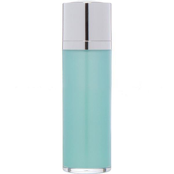 Teal Blue Airless Bottle - Shiny Silver Twist Up Dispenser