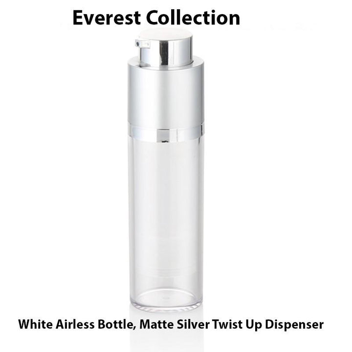White Airless Bottle - Matte Silver Twist Up Dispenser