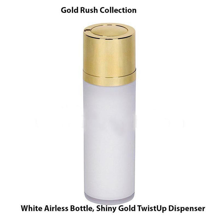 White Airless Bottle – Shiny Gold Twist Up Dispenser (From Gold Rush Collection)