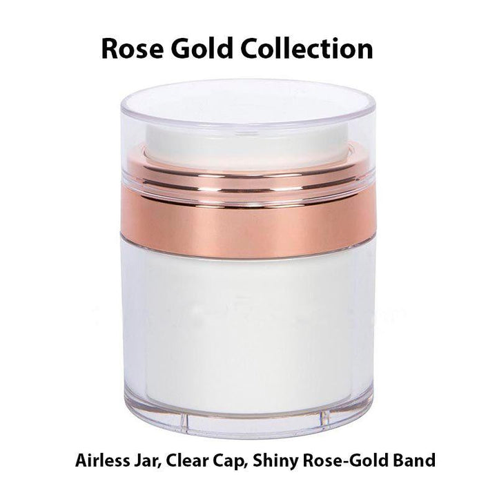 White Airless Jar - Clear Cap - Rose Gold Collar (From Rose Gold Collection)