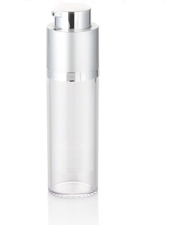 White Airless Bottle – Matte Silver Twist Up Dispenser (From Everest Collection)
