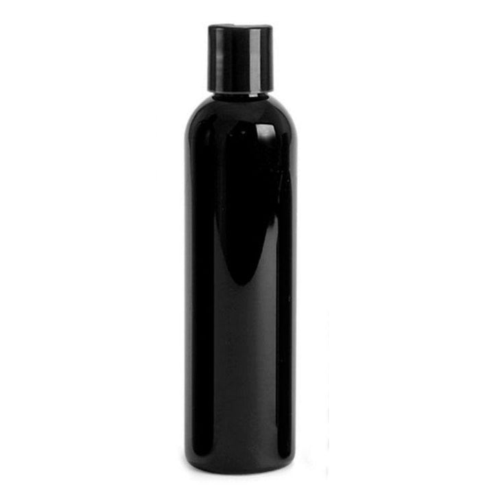 black PET plastic bottle with black disc cap