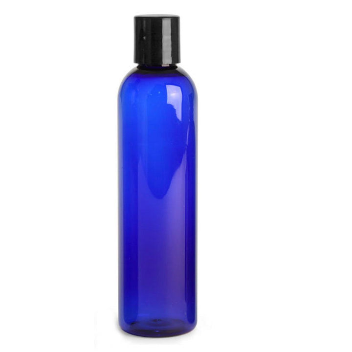 cobalt blue PET plastic bottle with black disc cap