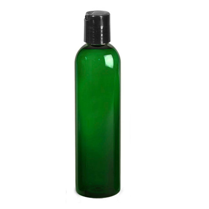 green PET plastic bottle with black disc cap