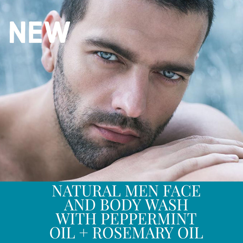 NATURAL MEN FACE & BODY WASH WITH PEPPERMINT OIL + ROSEMARY OIL