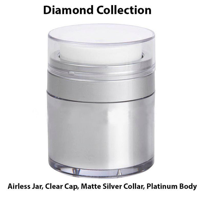 Platinum Airless Jar - Clear Cap - Shiny Silver Collar (From Diamond Collection)