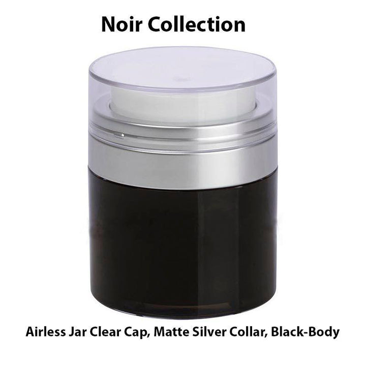 Black Airless Jar - Clear Cap - Shiny Silver Collar (From Noir Collection)