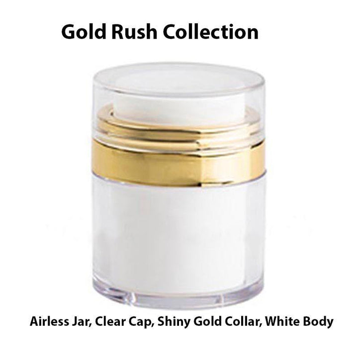 White Airless Jar - Clear Cap - Shiny Gold Collar (From Gold Rush Collection)