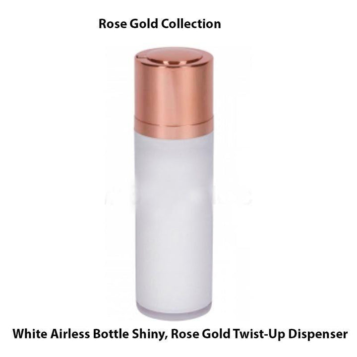 White Airless Bottle - Shiny Rose Gold Twist Up Dispenser (From Rose Gold Collection)