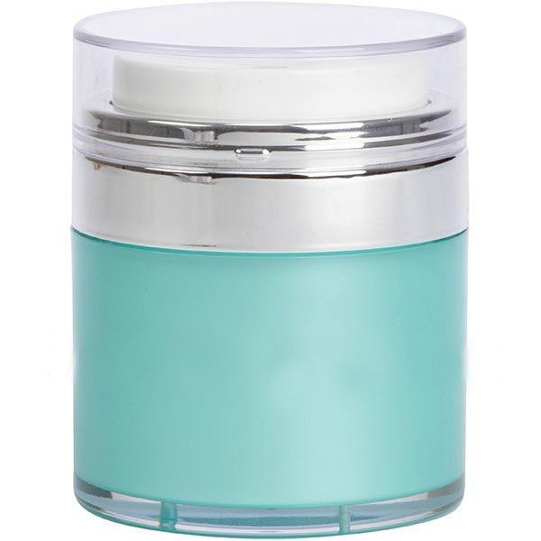 Teal Blue Airless Jar - Clear Cap - Shiny Silver Collar (From Tiffany Collection)