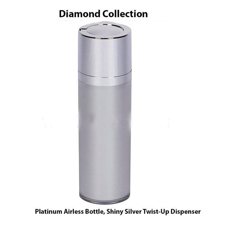 Platinum Airless Bottle – Shiny Silver Twist Up Dispenser (From Diamond Collection)