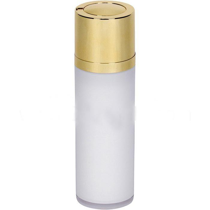 White Airless Bottle – Shiny Gold Twist Up Dispenser