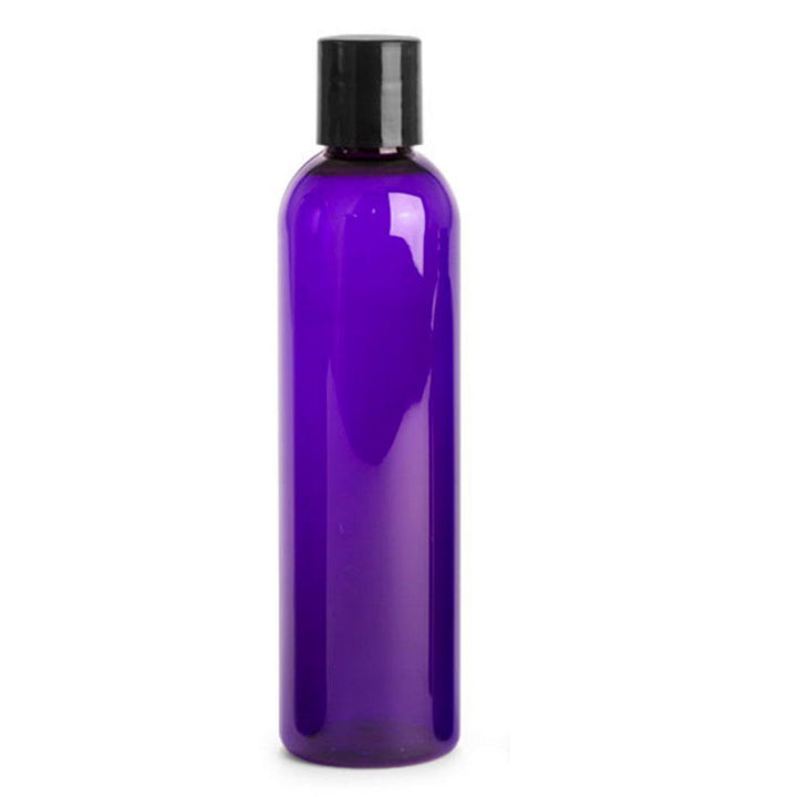 purple PET plastic bottle with black disc cap