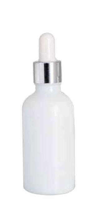 Shiny White Glass Boston Round Bottles with White Glass Dropper And Shiny Silver Skirt
