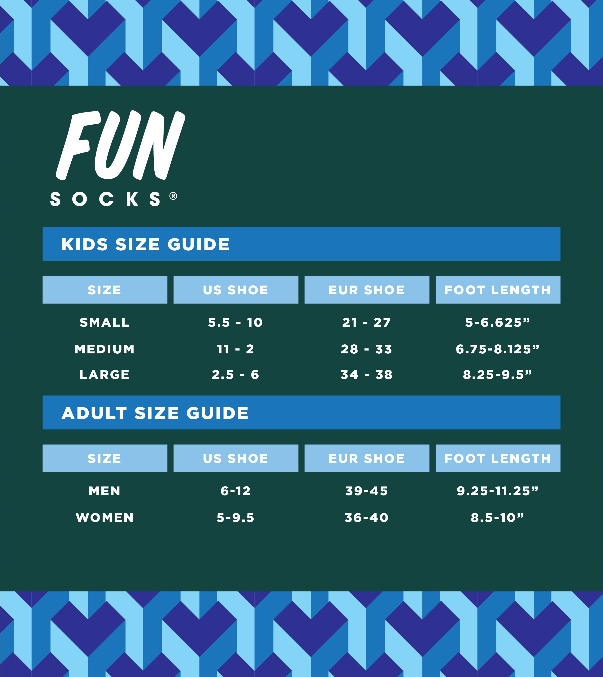 Fun Socks Fit Guide