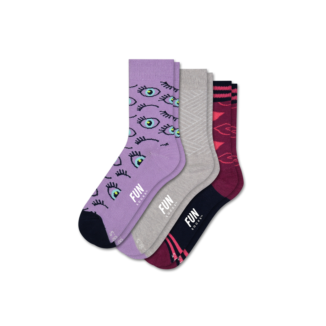 Girls' Eyes 3 Pack - Fun Socks