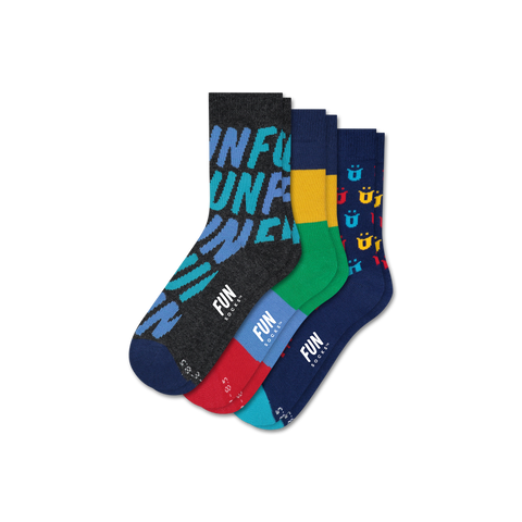 Boys' FUN FUN FUN 3 Pack - Fun Socks
