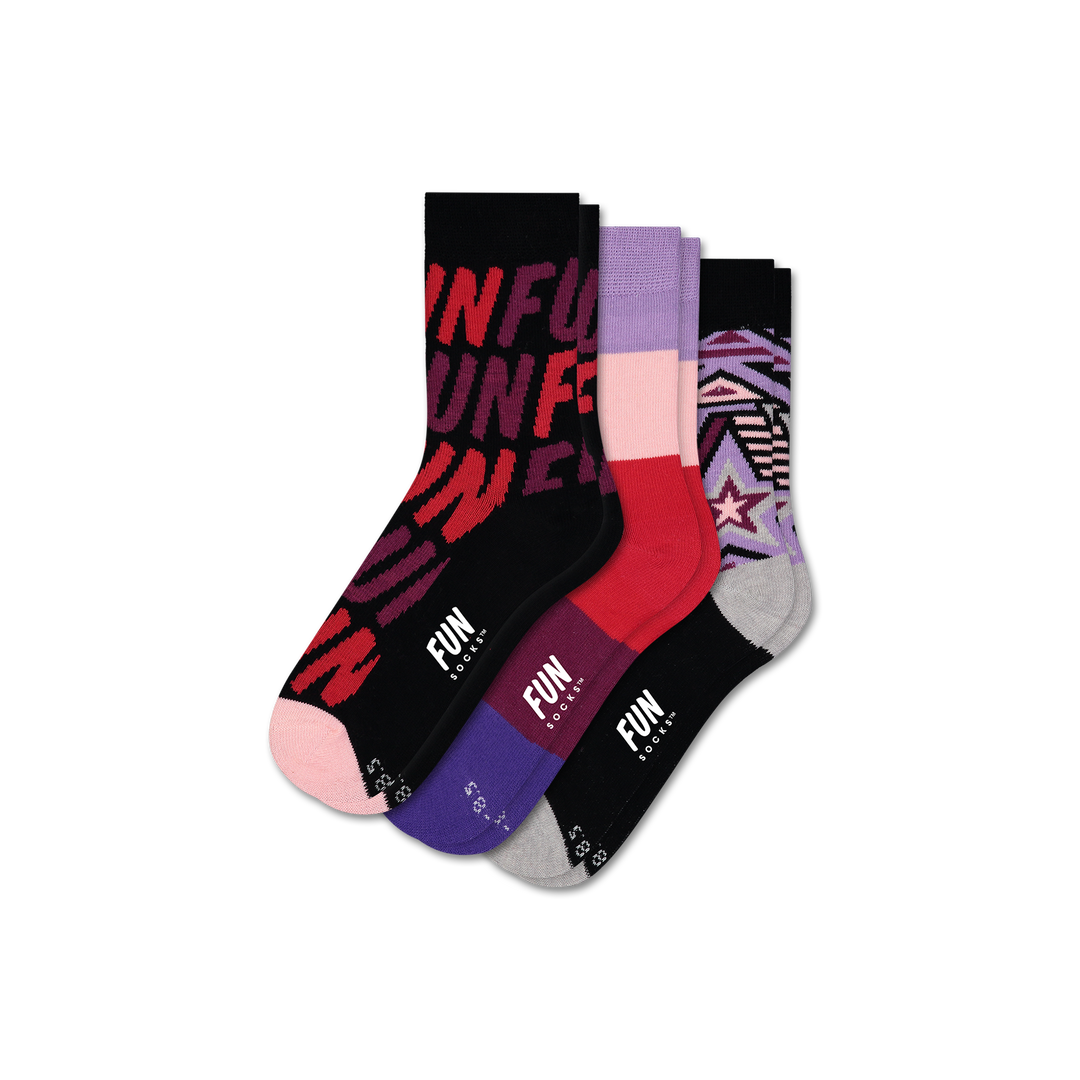 Girls' FUN FUN FUN 3 Pack - Fun Socks