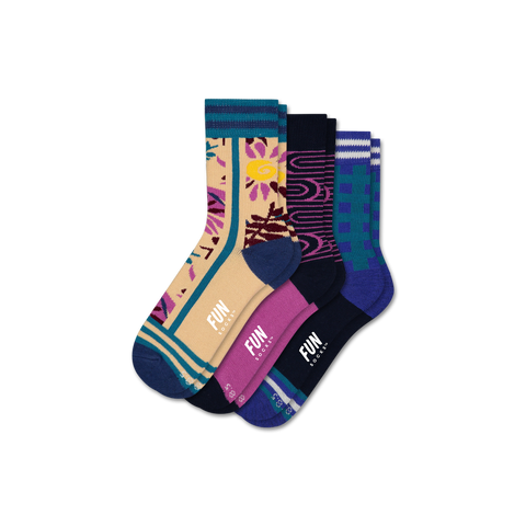 Girls' Floral 3 Pack - Fun Socks
