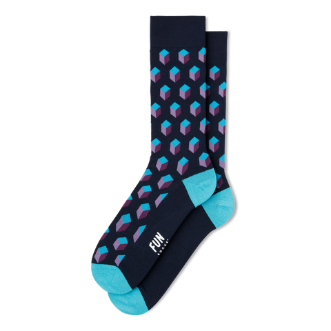 Men's 3D Geo Block Dress Socks - Fun Socks