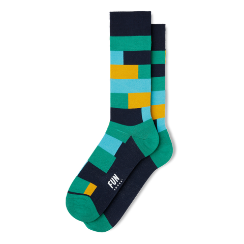 Men's Geo Block Dress Socks - Fun Socks