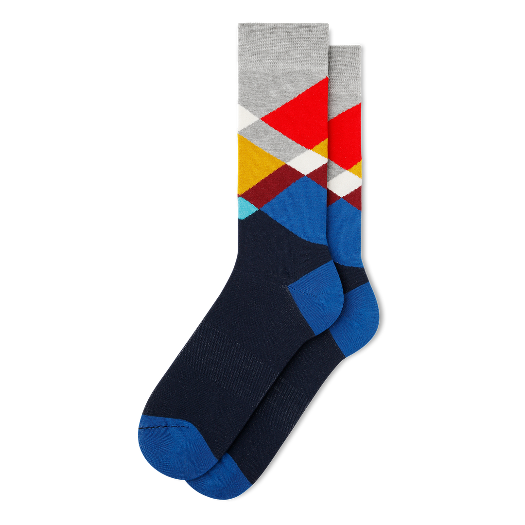 Men's Broken Argyle Dress Socks - Fun Socks