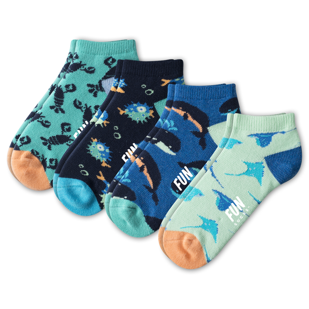 Kid's Sea Life Low Cut 4 Pack