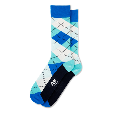 mens colorful white teal blue argyle pattern socks