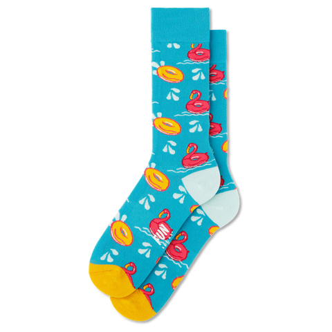 Men's Flamingo Float Socks - Fun Socks