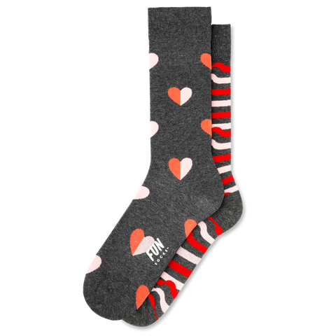 Men's Heart & Ribbon Stripe Socks - Fun Socks