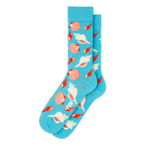 Men's Seashells Beach Socks - Fun Socks
