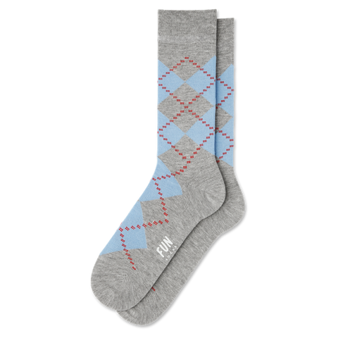Mens grey blue argyle socks
