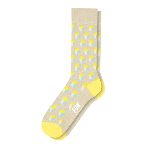 Men's 3D Geo Block Dress Socks