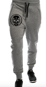 Grey Melange Pants Small Black Skull (beauty) - Northern Spirit