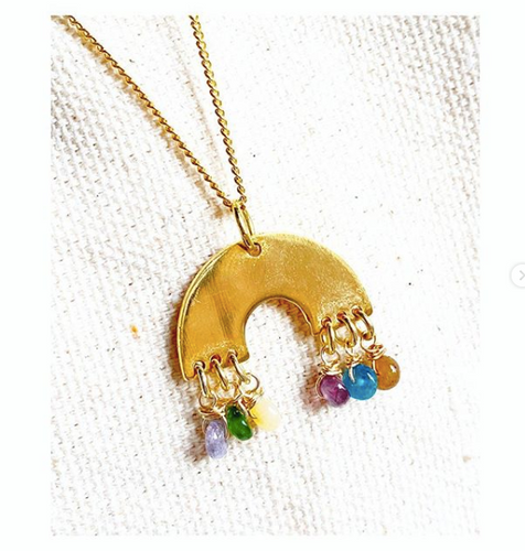 Dainty Rainbow Pendant Necklace