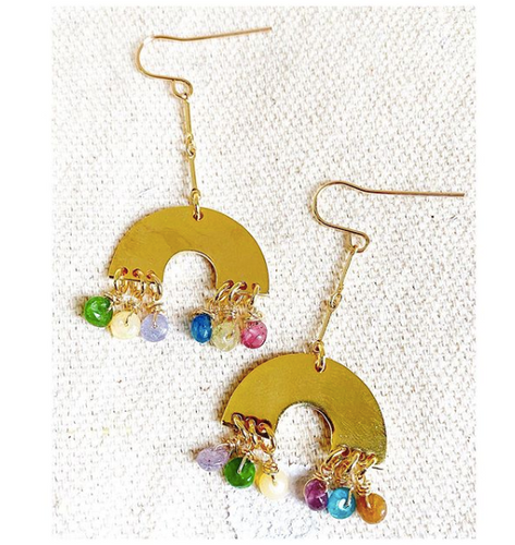 Double Rainbow Dainty Earrings