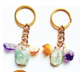 Triple Crystal Keychain