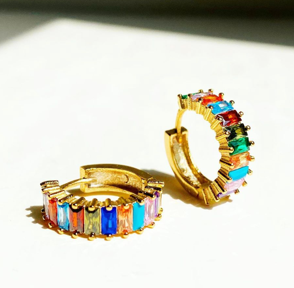 Prism Rainbow Hoop Earrings