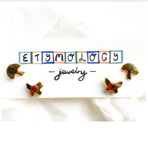 Stud Earrings- Butterfly and Mushroom Set