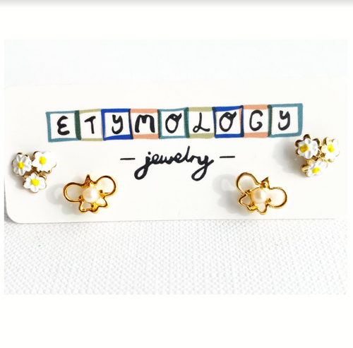 Stud Earrings - Pearl Butterfly and Flowers