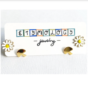 Stud Earrings - Daisy and Mushroom