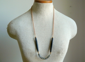 Labradorite and Wood Long Boho Necklace
