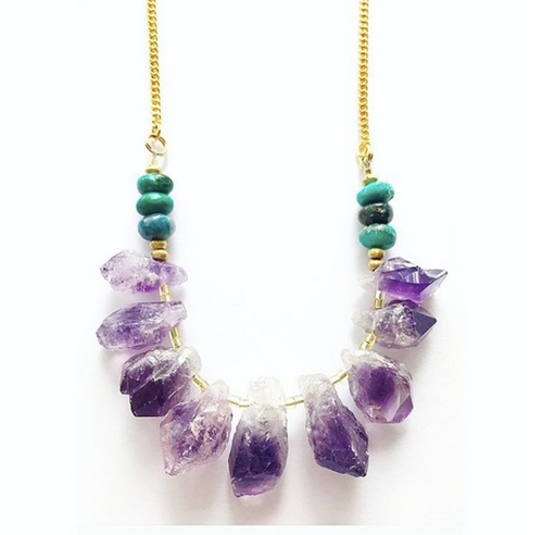 Long Boho Necklace - Sparkling Lilac
