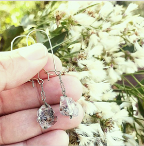 Dainty Herkimer Diamond Boho Dangle Earrings