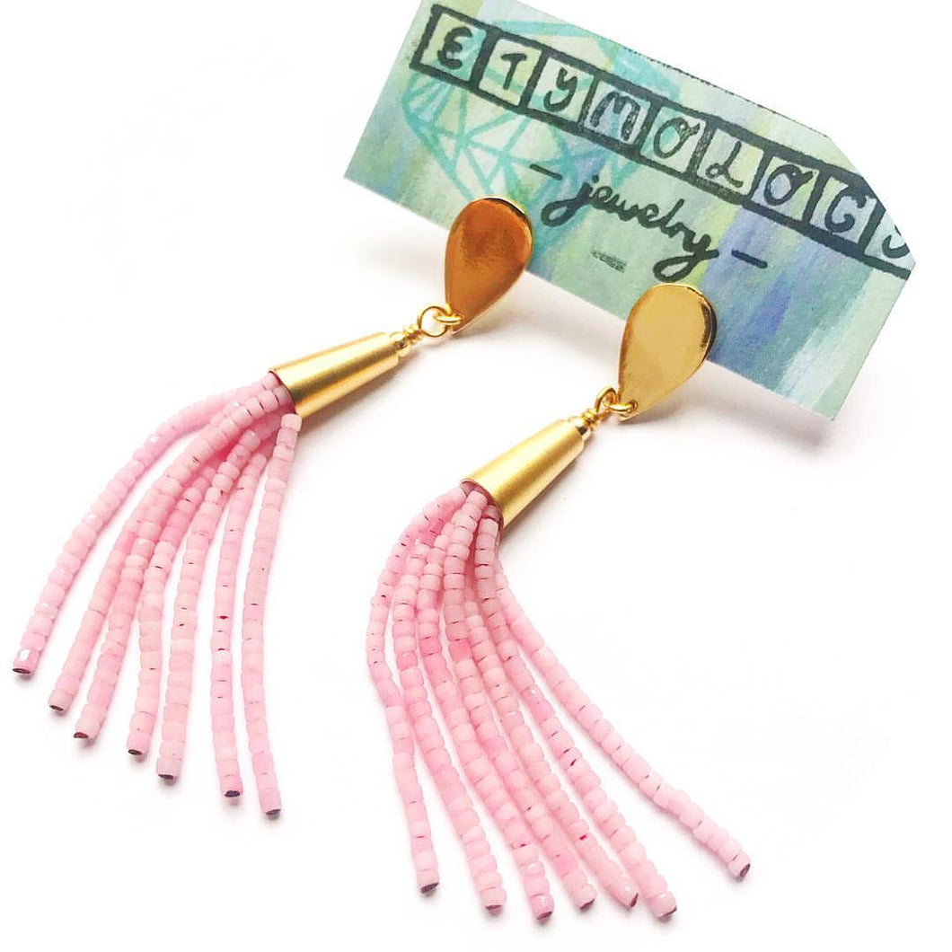 Pink Tassel Earrings- Long Tassel Jewelry- Boho Earrings