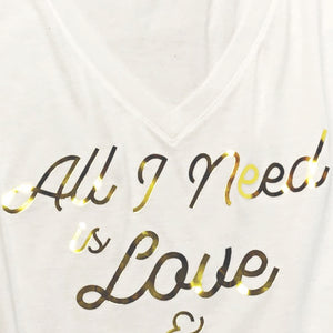 BEAN Coffee All I Need Is Love Women's V-neck