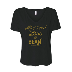 BEAN Coffee All I Need Is Love Women's V-neck in Black